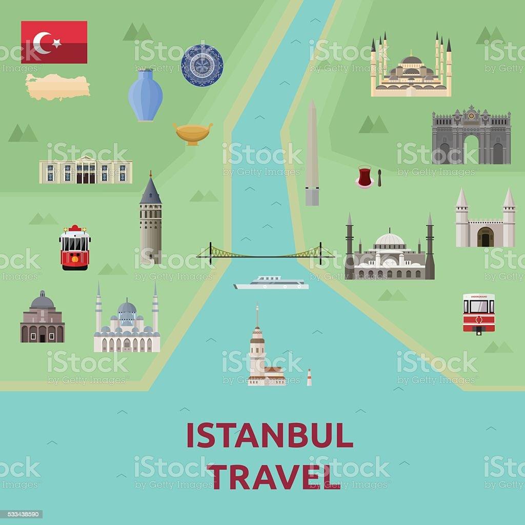 Map of Istanbul Attraction Landmark.Bosphorus bridge, Blue mosqu vector art illustration