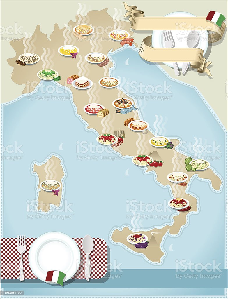Map of Italian's pasta royalty-free stock vector art