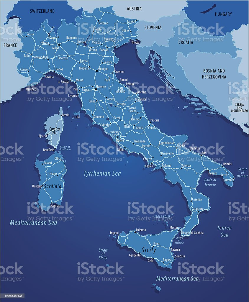 Map Of Italy royalty-free stock vector art