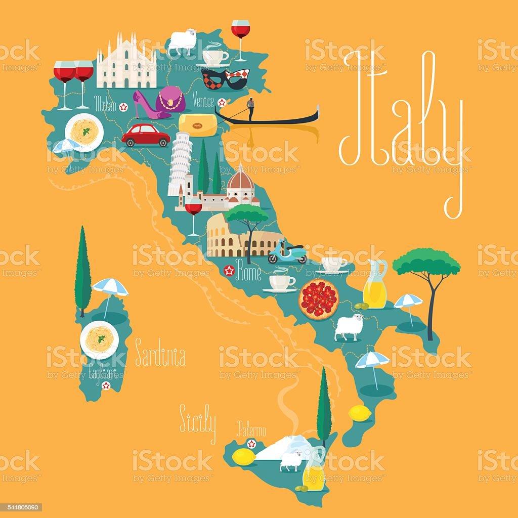 Map of Italy vector illustration, design. Icons with Italian landmarks vector art illustration