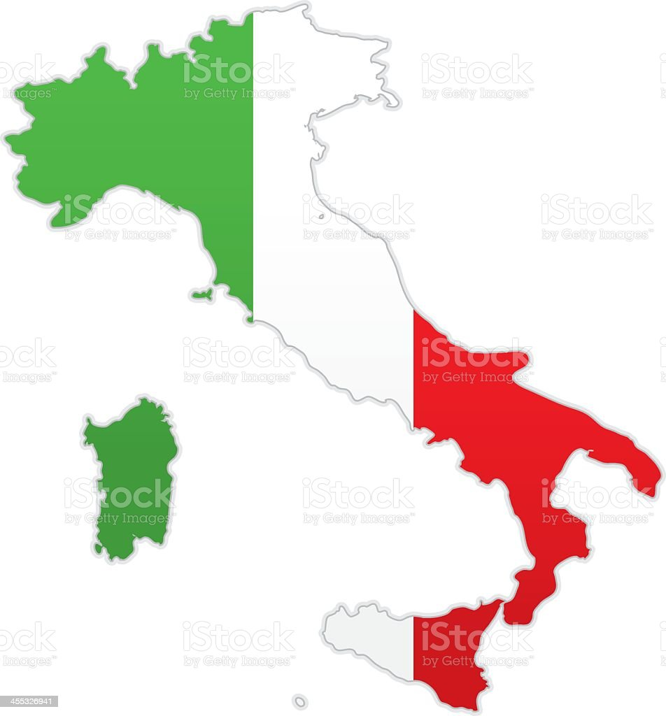 Map of Italy with Italian flag on white background royalty-free stock vector art