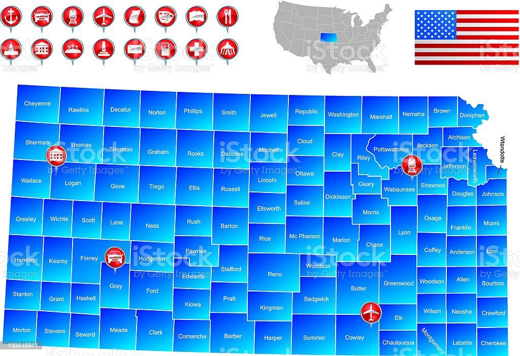 Map of Kansas vector art illustration
