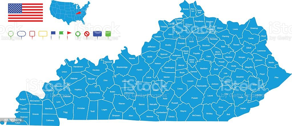 Map of Kentucky vector art illustration