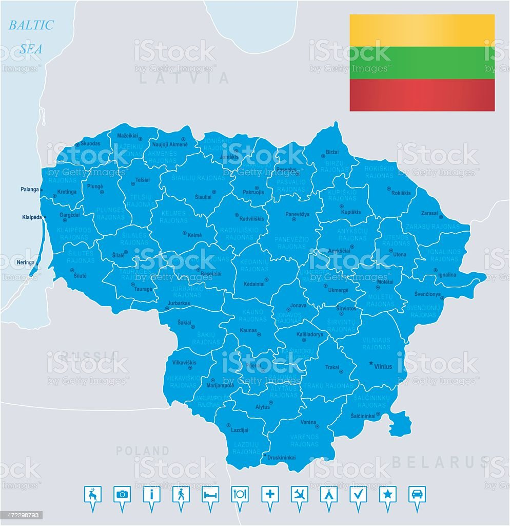 Map of Lithuania - states, cities, flag, navigation icons royalty-free stock vector art