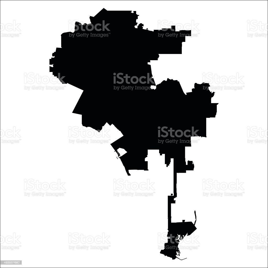 Map of Los Angeles vector art illustration