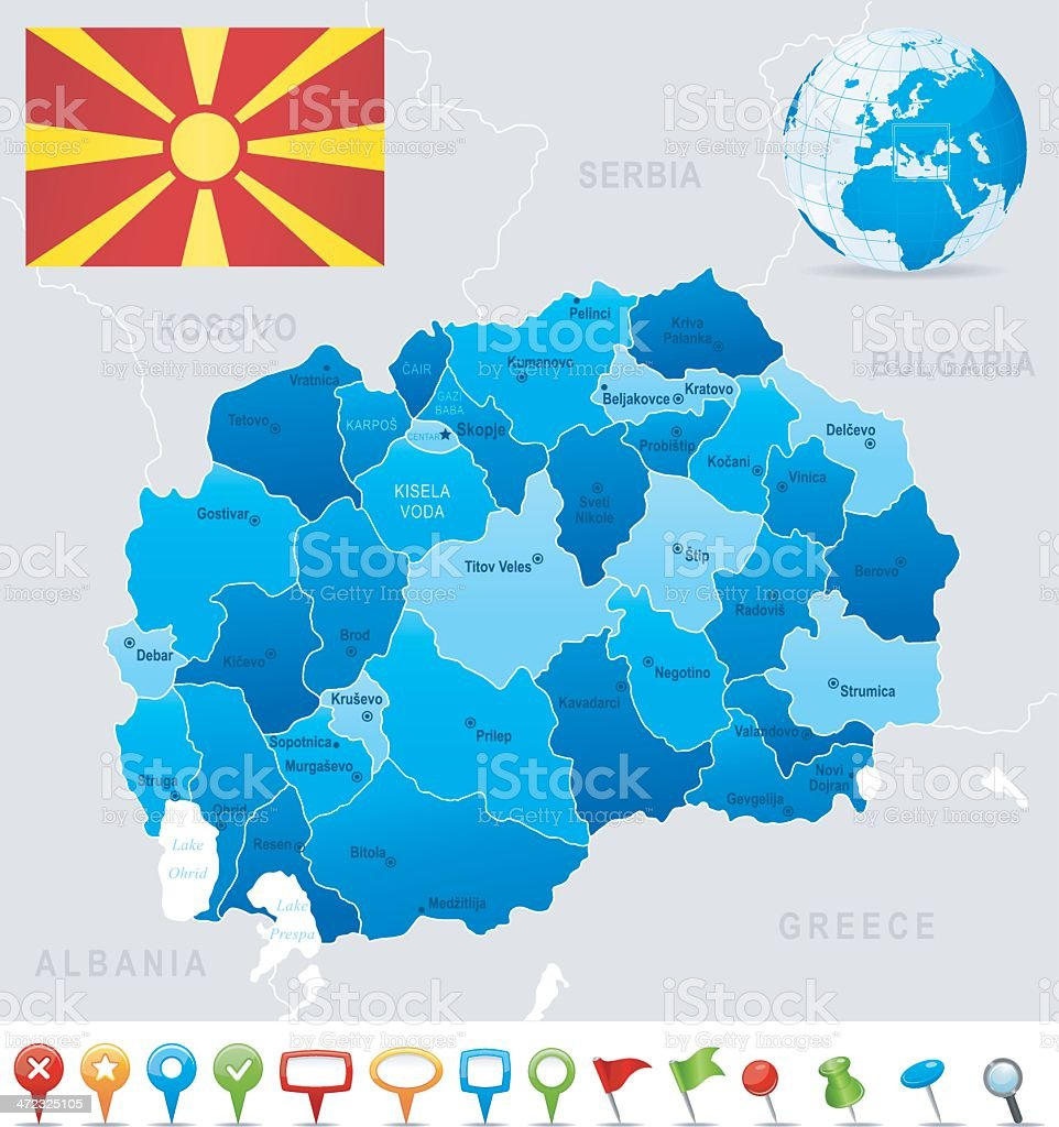 Map of Macedonia - states, cities, flag and icons royalty-free stock vector art