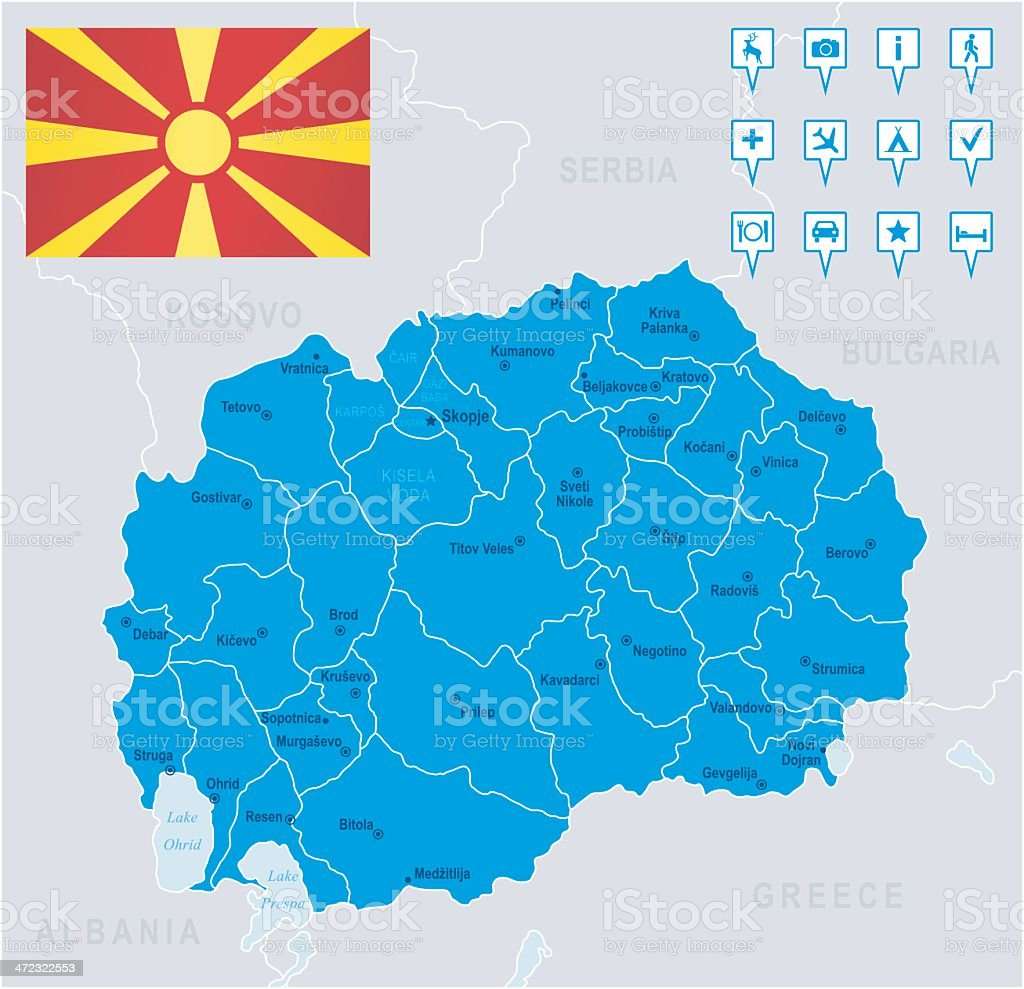 Map of Macedonia - states, cities, flag, navigation icons royalty-free stock vector art