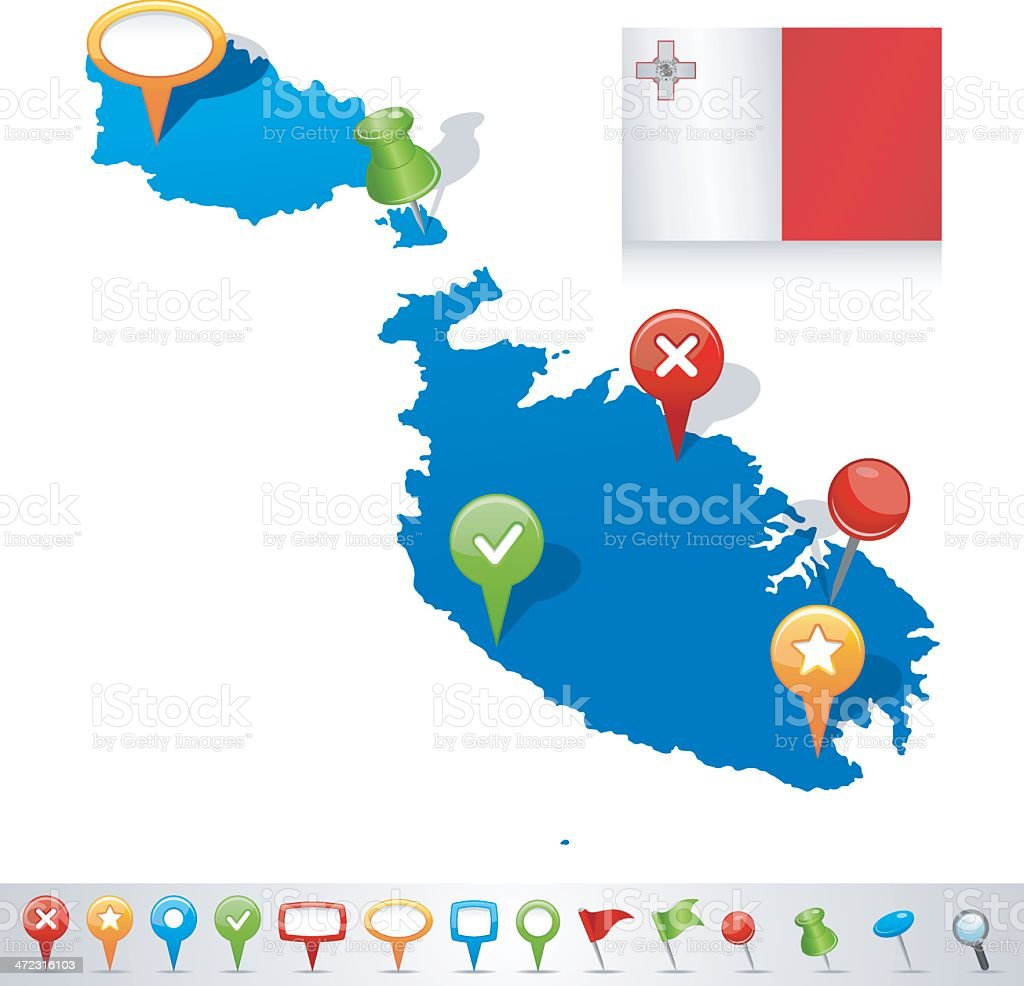 Map of Malta with navigation icons royalty-free stock vector art