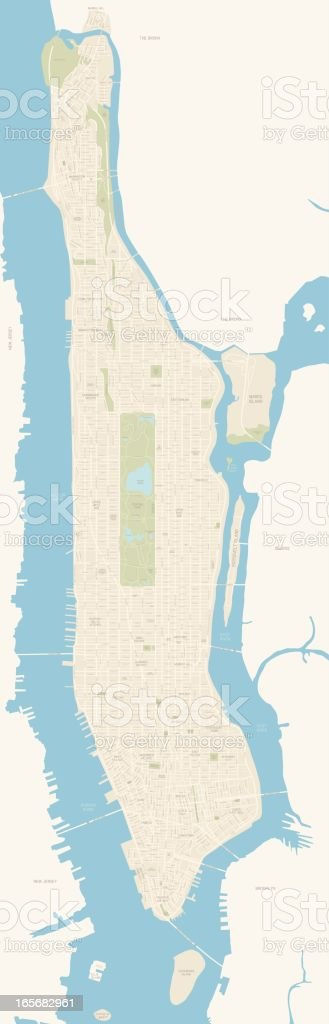 Map of Manhattan royalty-free stock vector art
