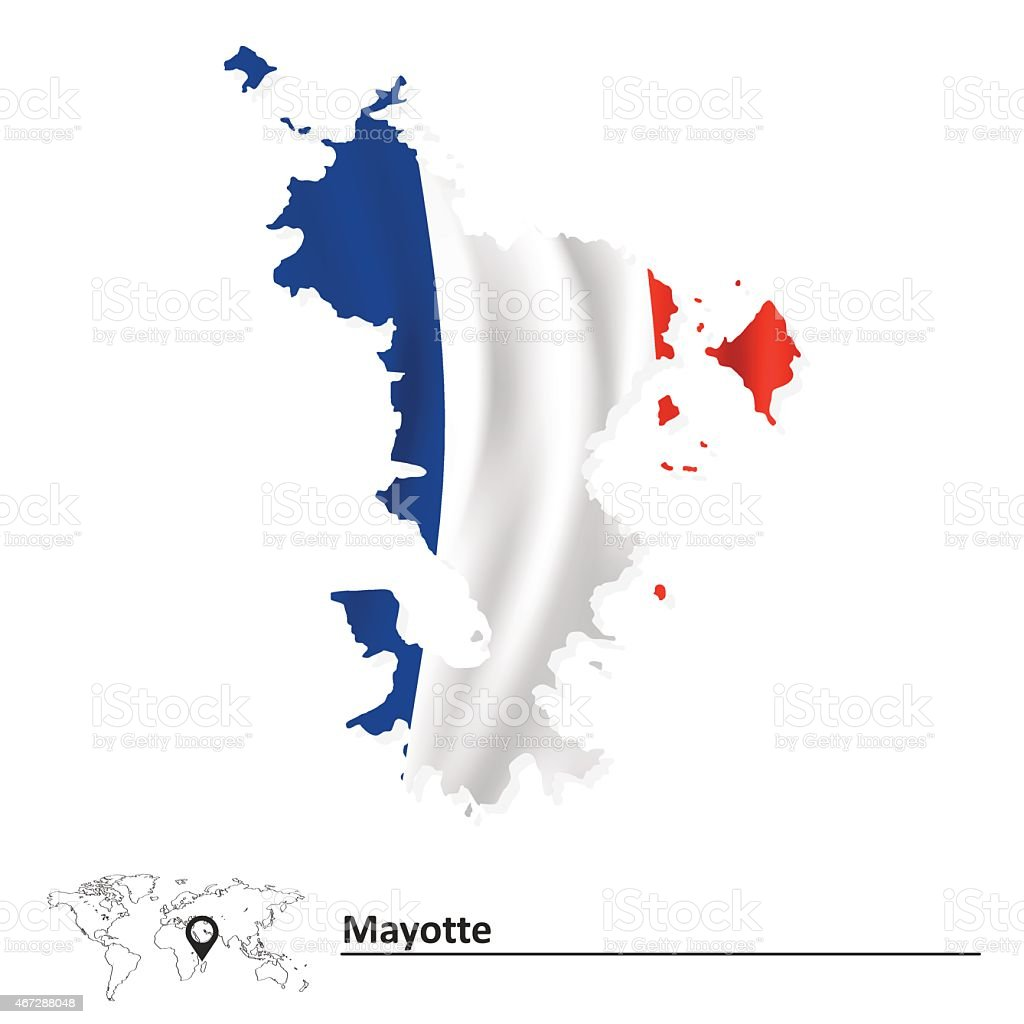 Map of Mayotte with flag vector art illustration