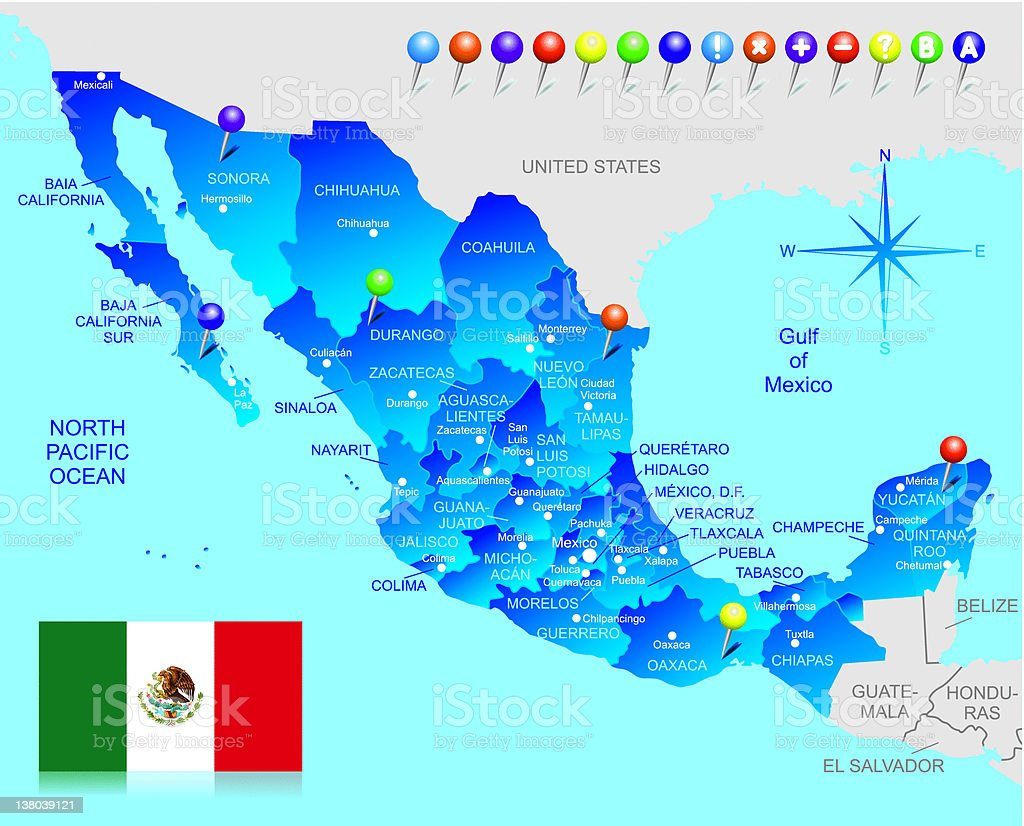 Map of Mexico royalty-free stock vector art