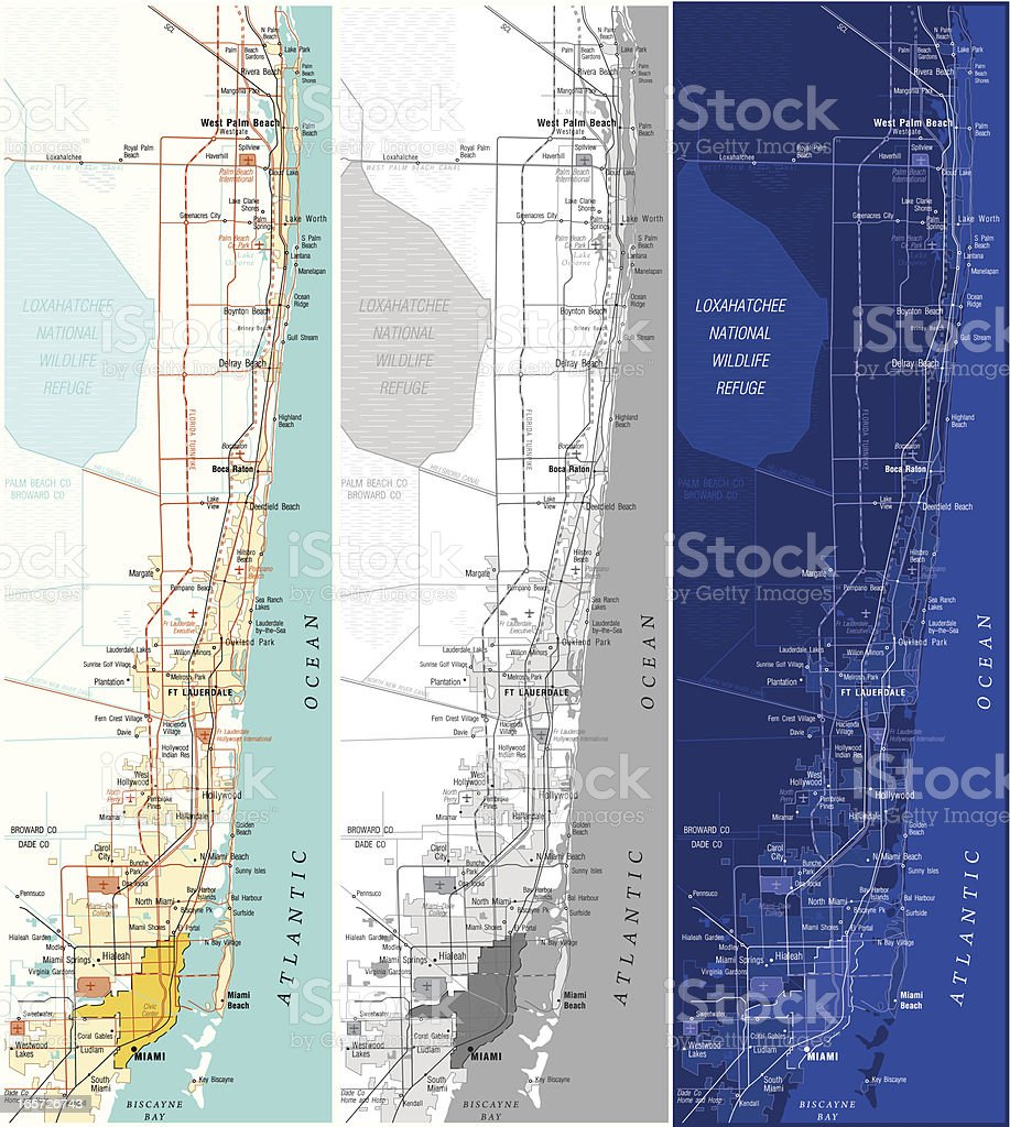 Map Of Miami royalty-free stock vector art