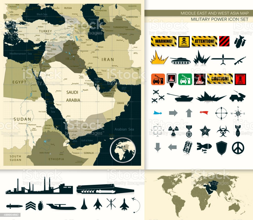 Map Of Middle East And Asia vector art illustration