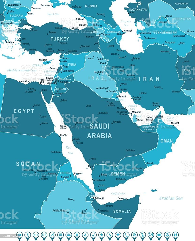 Map of Middle East and Navigation Icons vector art illustration