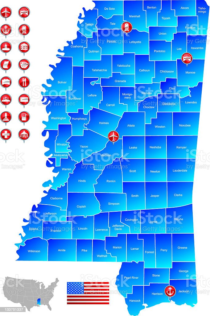 Map of Mississippi stock photo