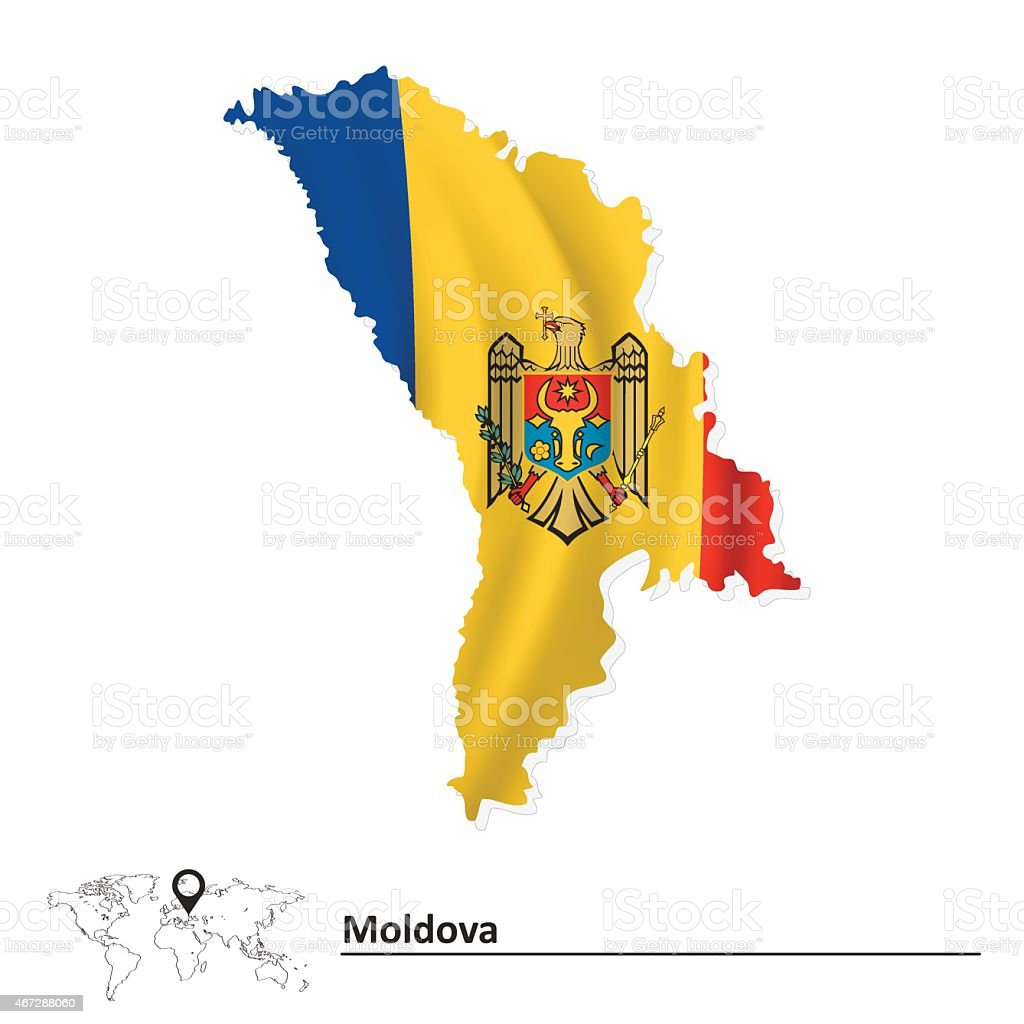 Map of Moldova with flag vector art illustration