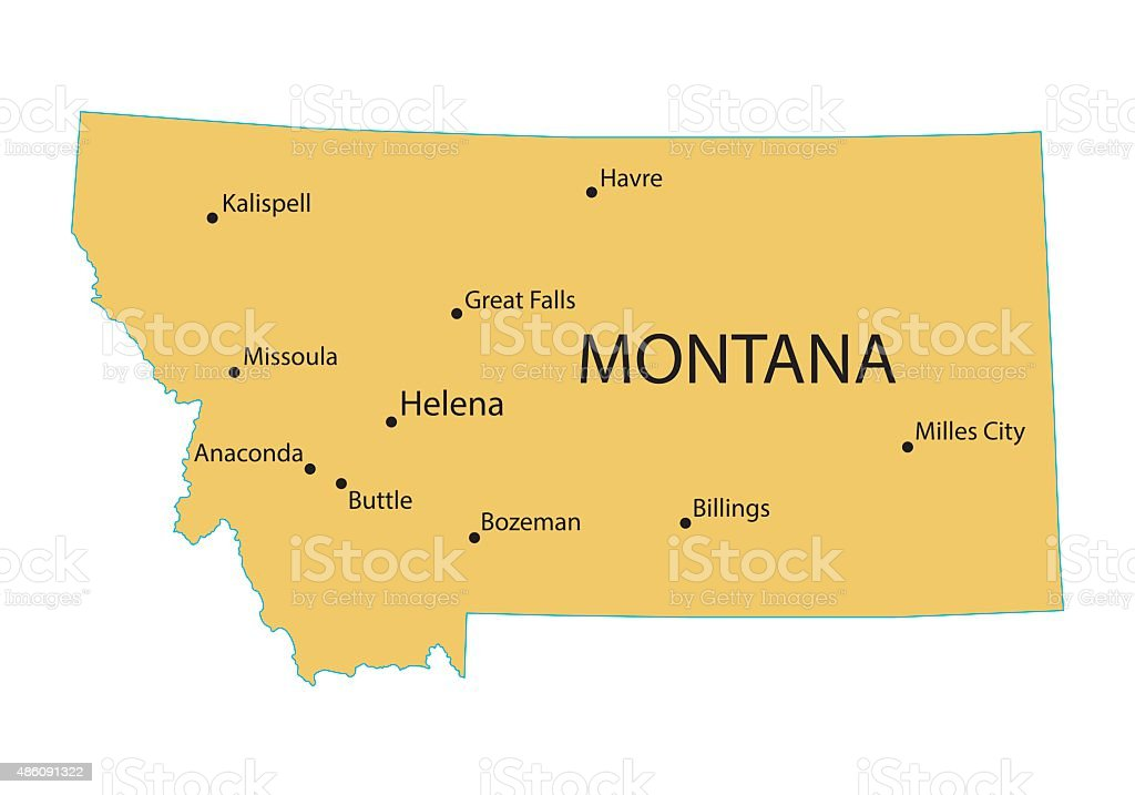 map of Montana with indication of largest cities vector art illustration