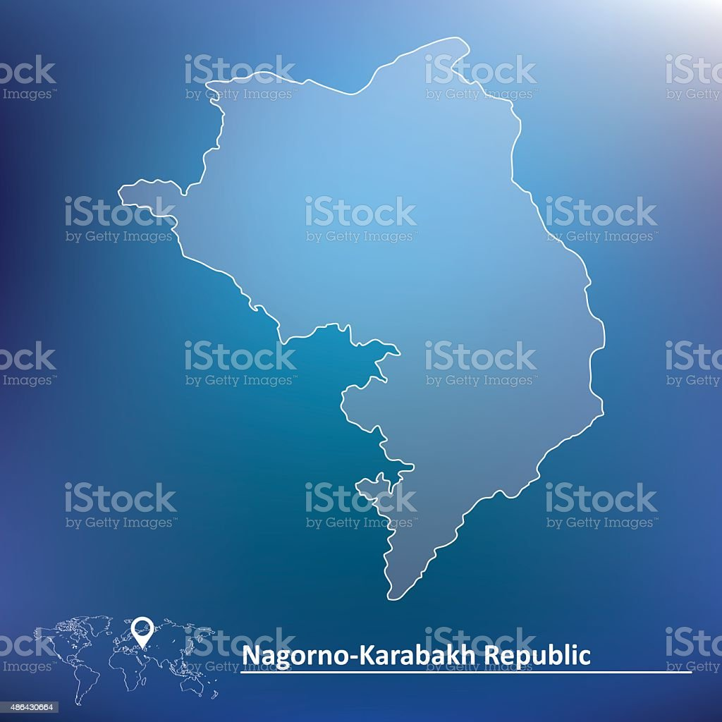 Map of Nagorno-Karabakh Republic vector art illustration