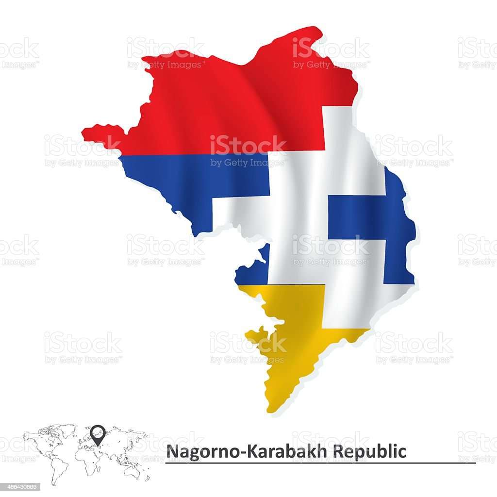 Map of Nagorno-Karabakh Republic with flag vector art illustration