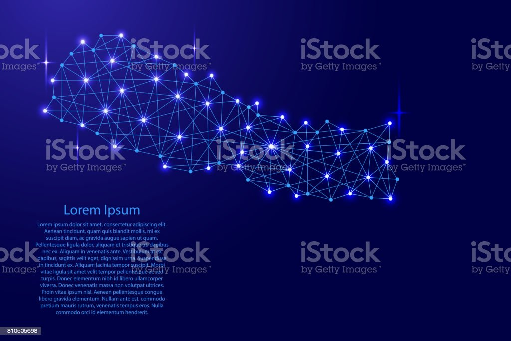 Map of Nepal from polygonal blue lines and glowing stars vector illustration vector art illustration