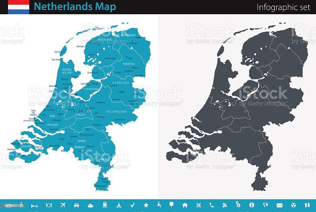 Map of Netherlands - Infographic Set vector art illustration