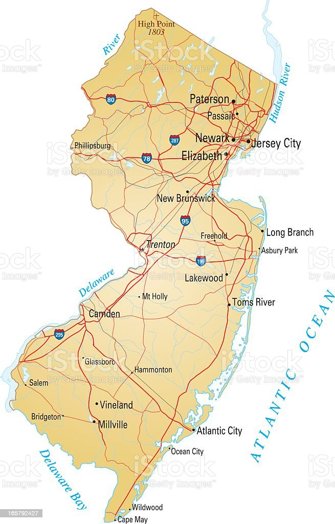 Map of New Jersey with highways on white background  vector art illustration