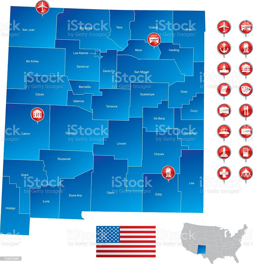 Map of New Mexico royalty-free stock vector art