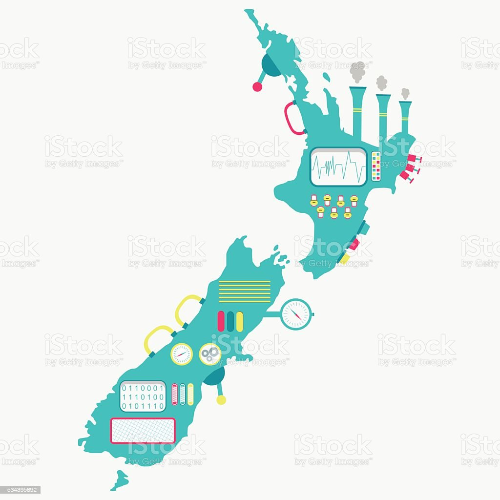 Map of New zealand machine vector art illustration