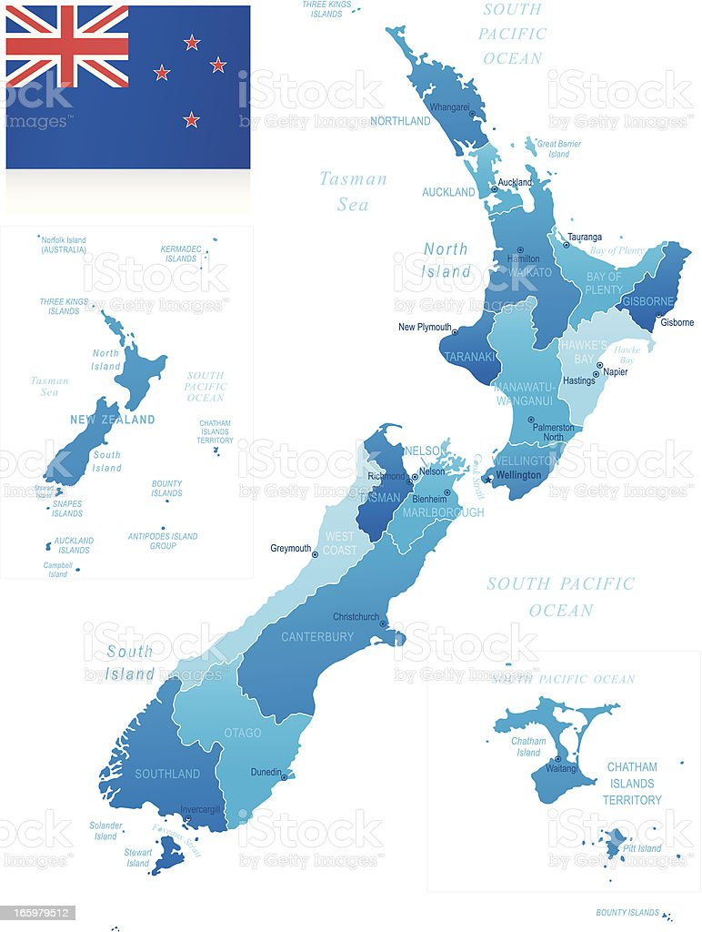 Map of New Zealand - states, cities and flag vector art illustration