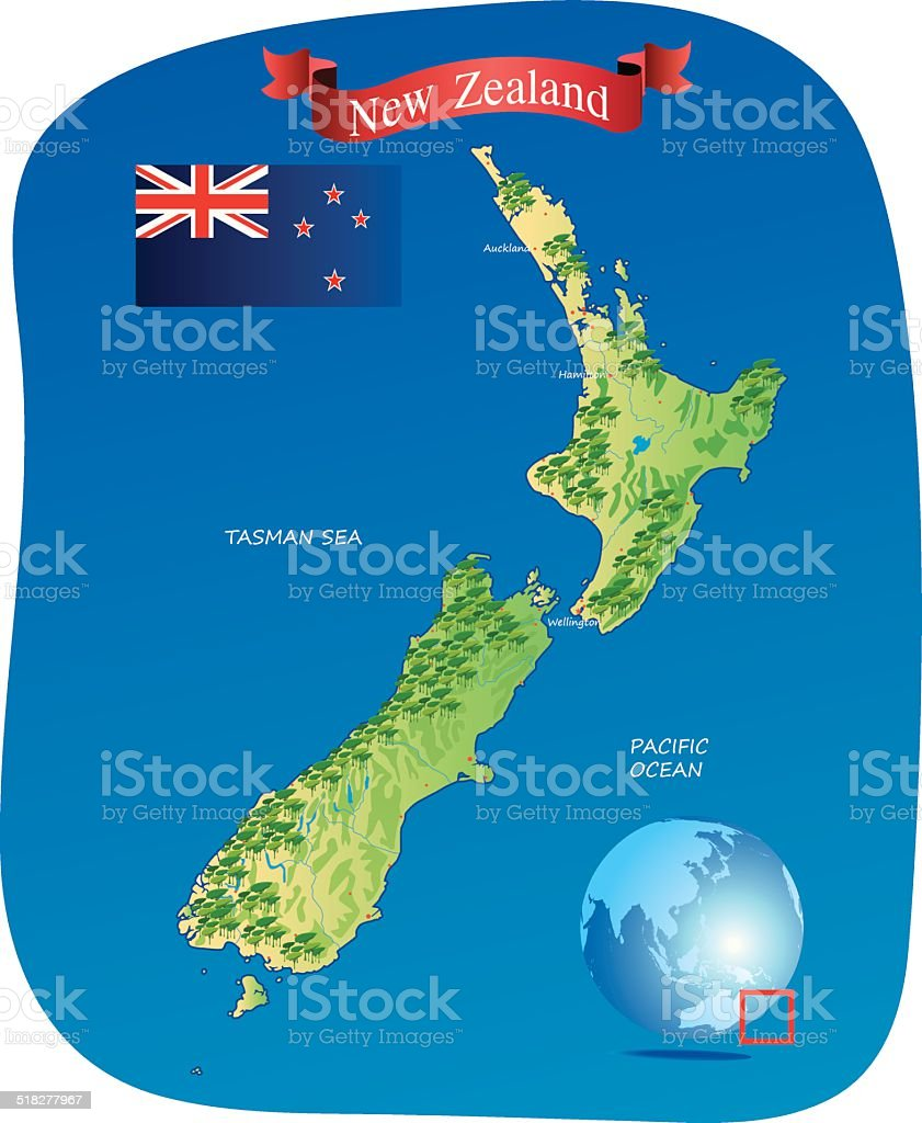 Map of New Zealand vector art illustration