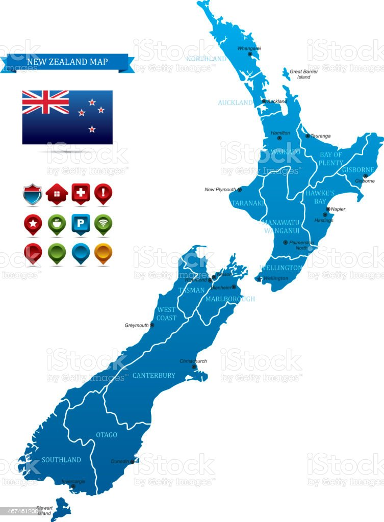 A map of New Zealand with the flag beside it vector art illustration
