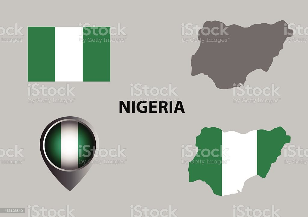Map of Nigeria and symbol vector art illustration