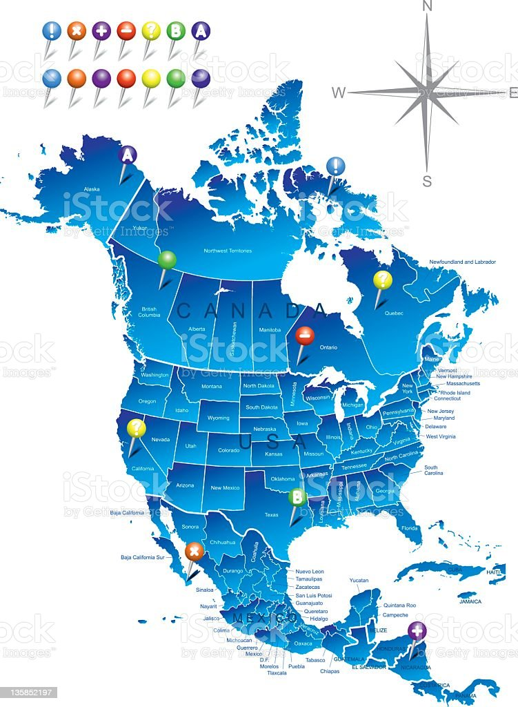 A map of North America in blue with nails royalty-free stock vector art
