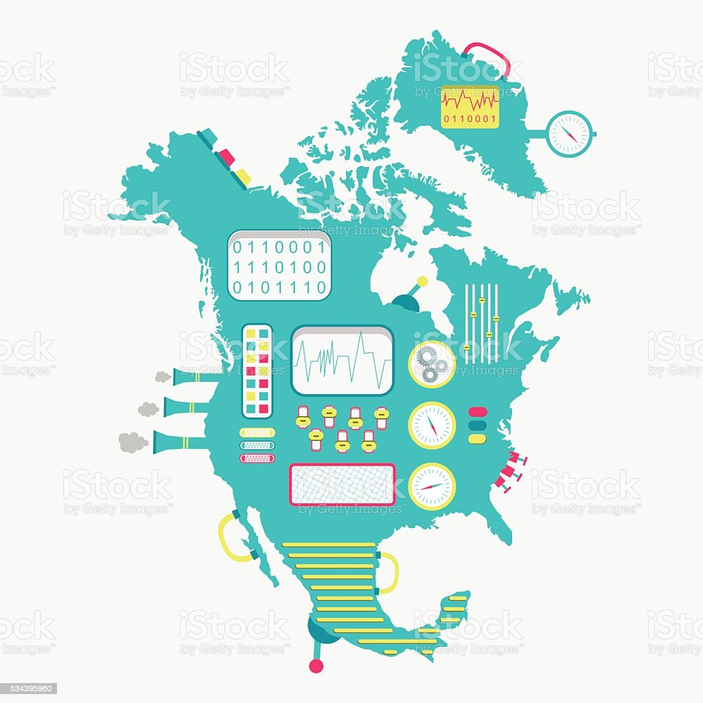 Map of North America machine vector art illustration