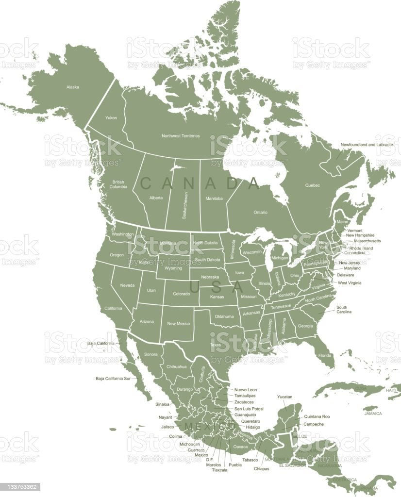Map of North America royalty-free stock photo