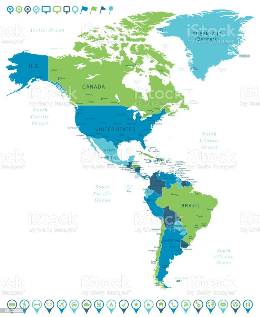 Map of North and South America and Navigation Icons vector art illustration