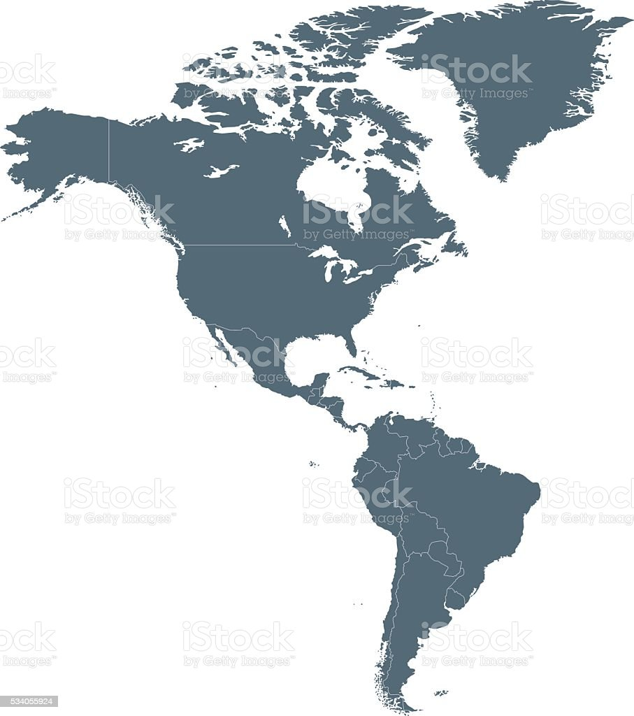 Map of North and South America vector art illustration