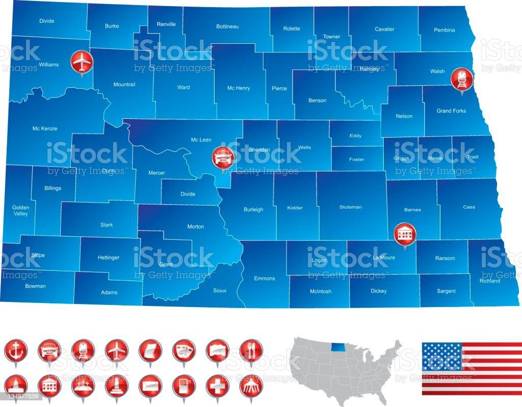 Map of North Dakota stock photo