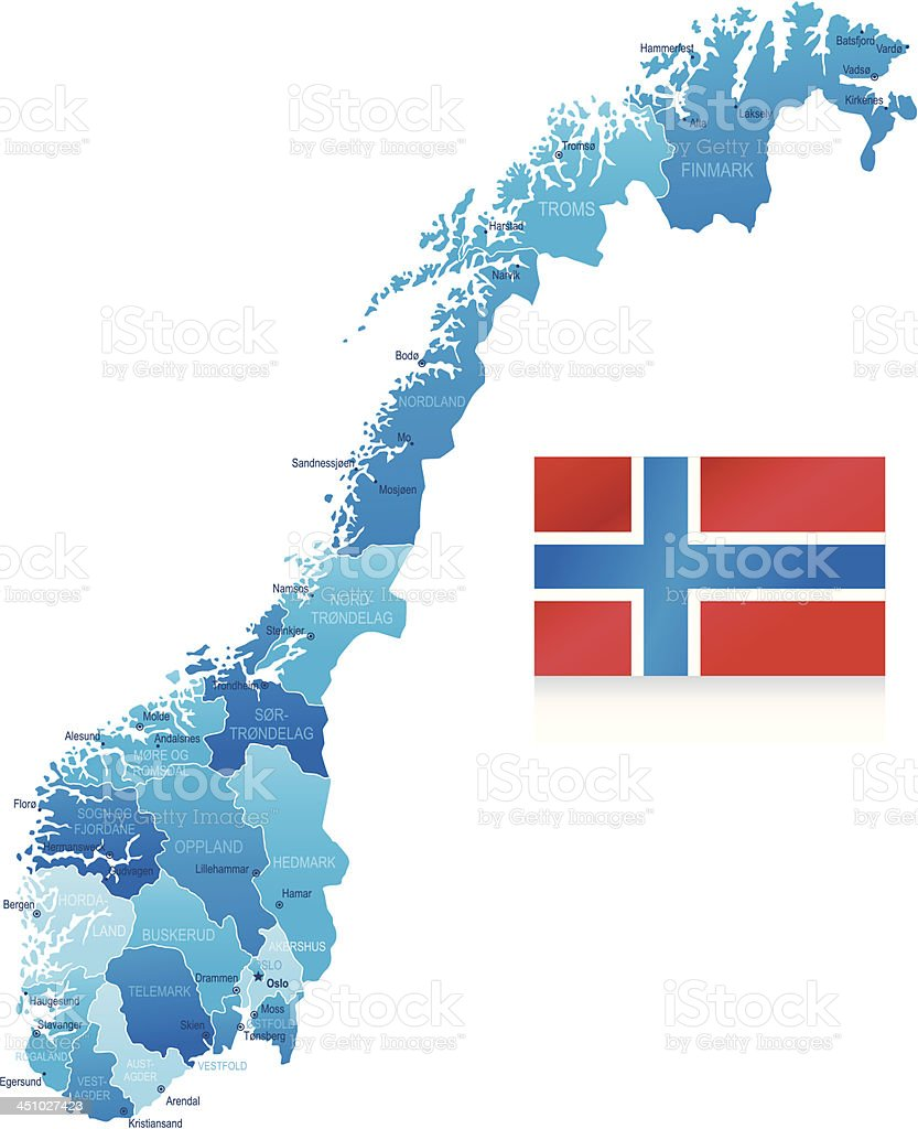 Map of Norway - states, cities and flag royalty-free stock vector art