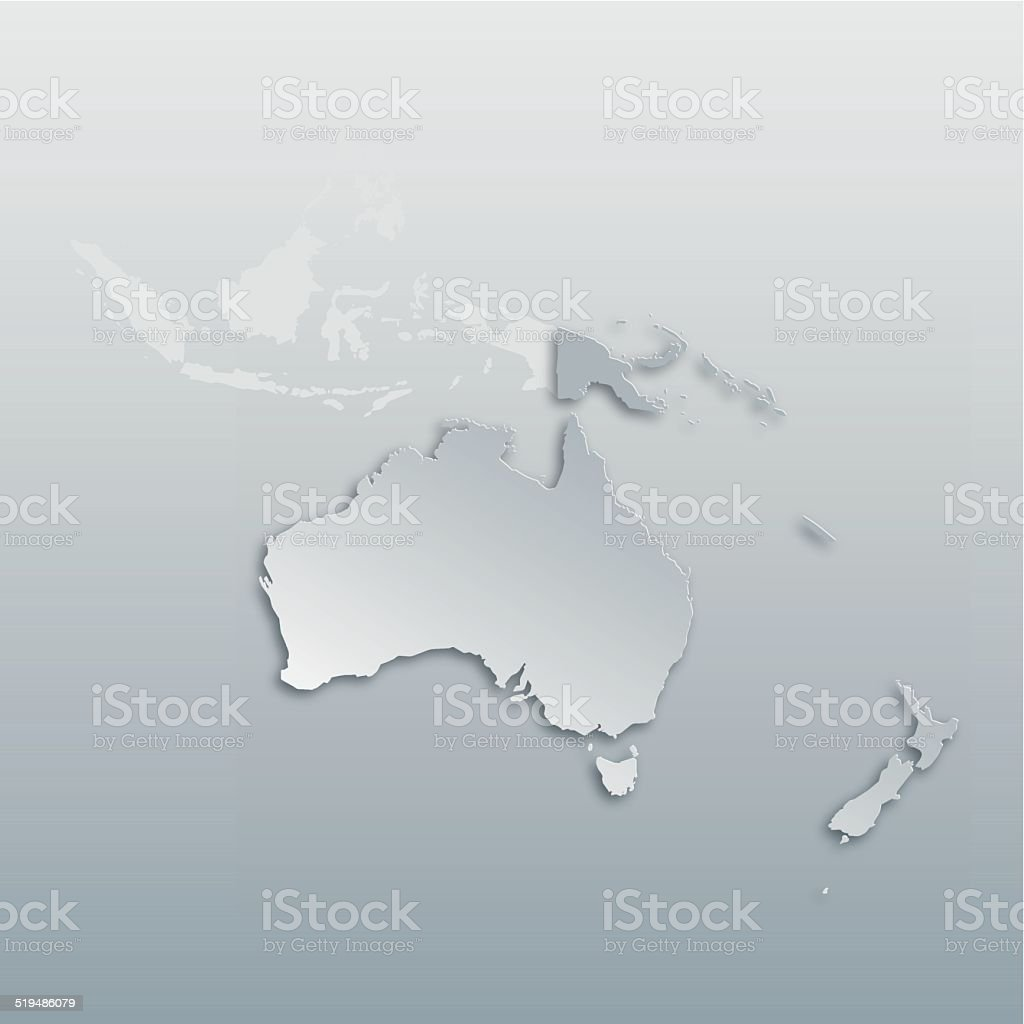 Map of Oceania with paper cut effect vector art illustration