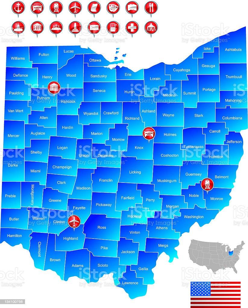 Map of Ohio stock photo