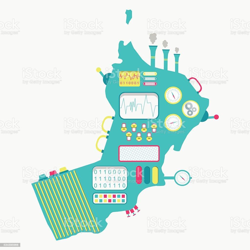 Map of Oman machine vector art illustration