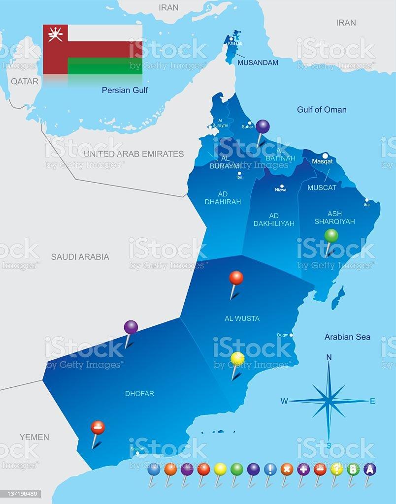 Map of Oman royalty-free stock vector art