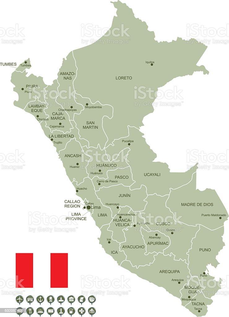 Map of Peru vector art illustration