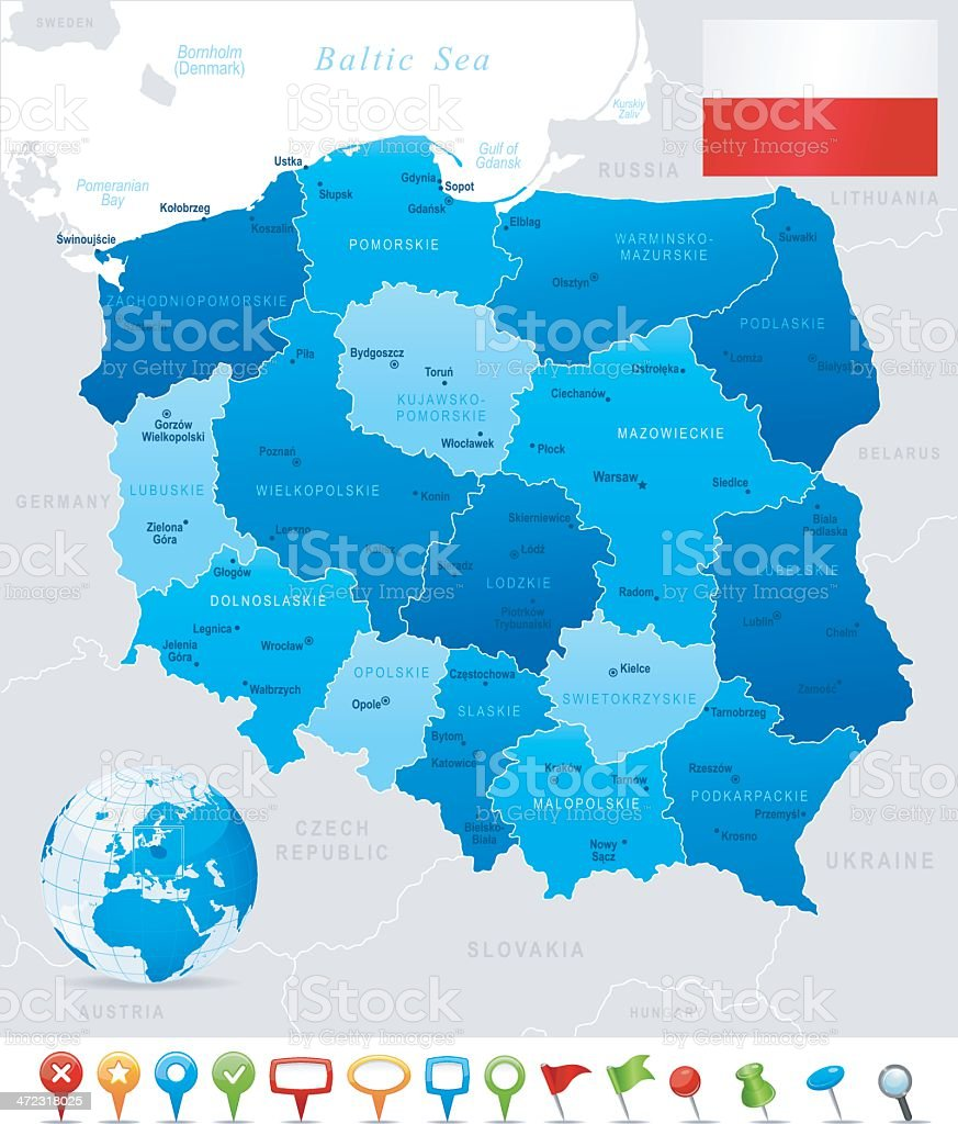 Map of Poland - states, cities, flag and icons vector art illustration