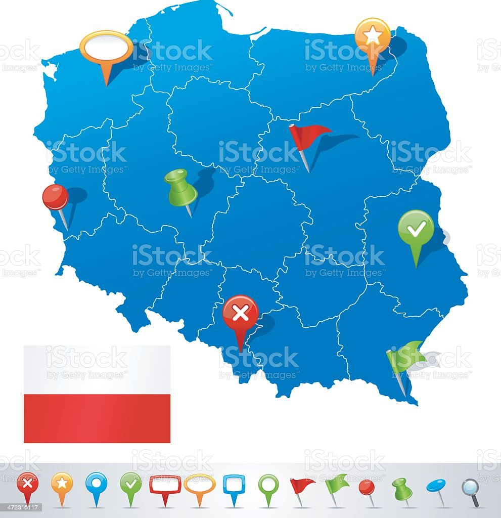 Map of Poland with navigation icons royalty-free stock vector art