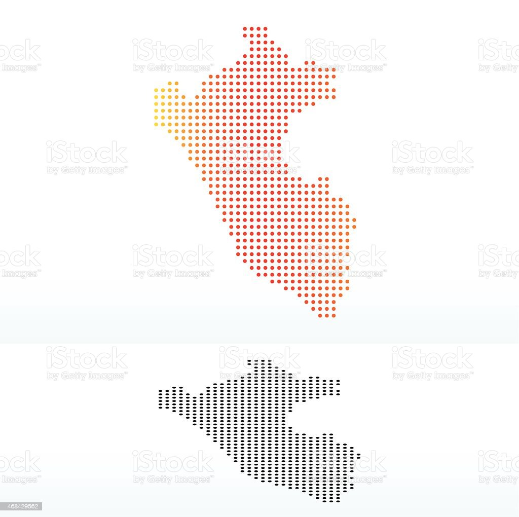 Map of Republic  Peru with Dot Pattern vector art illustration