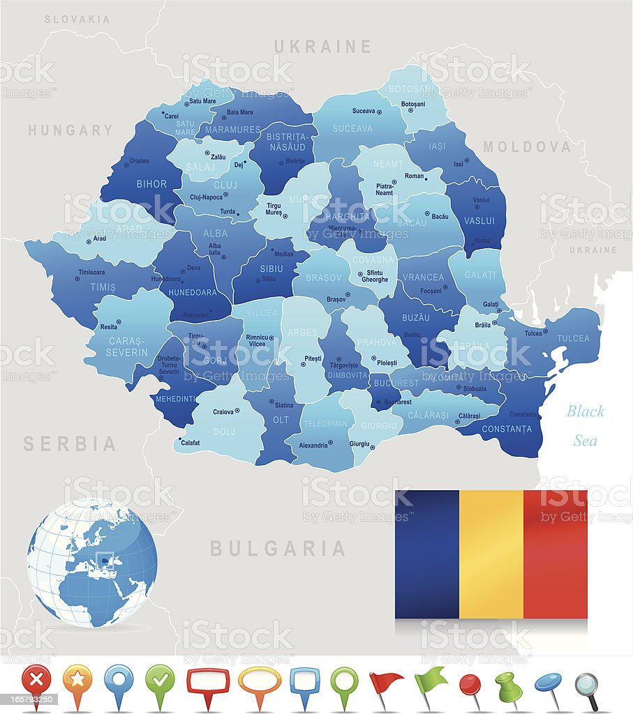 Map of Romania showing states, cities, and the flag royalty-free stock vector art