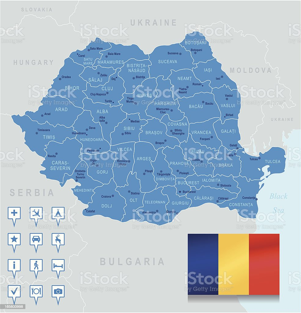Map of Romania - states, cities, flag, navigation icons vector art illustration