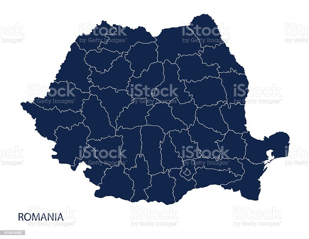 Map of Romania vector art illustration